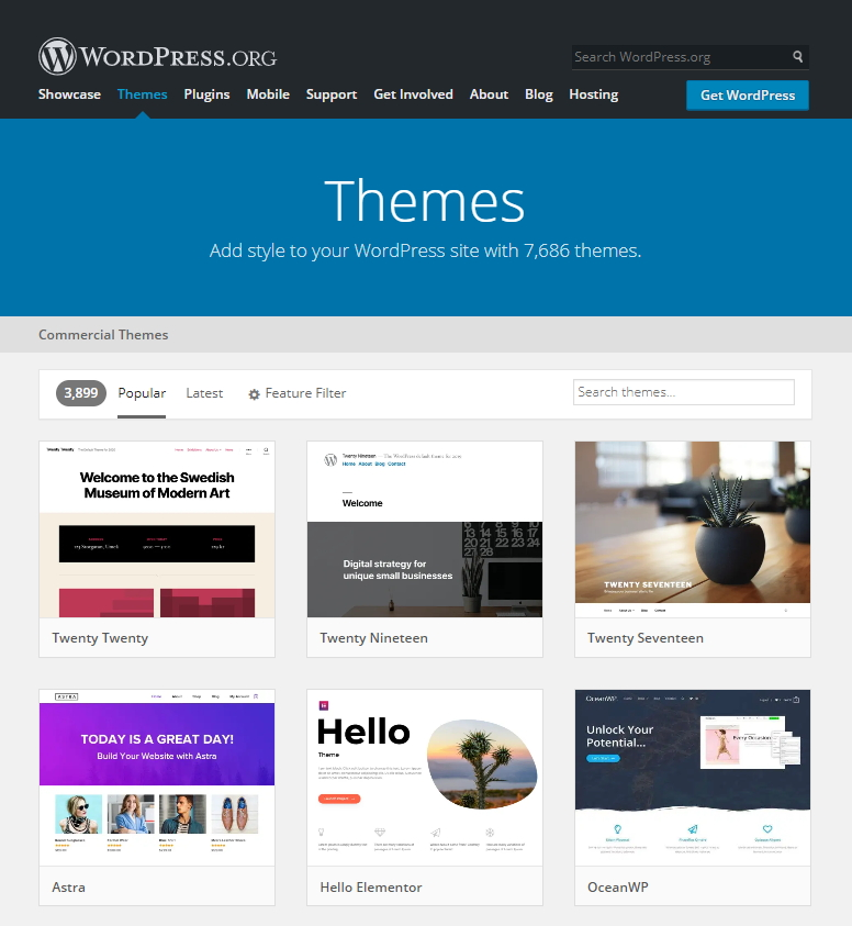 WordPres提供7,686免費的主題網站版型