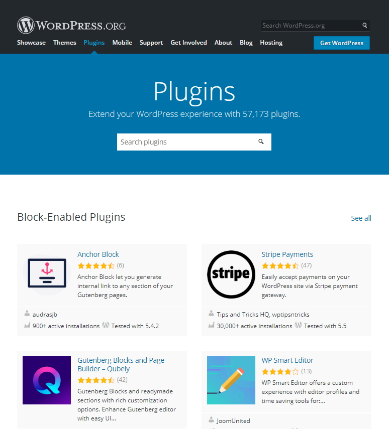 WordPres提供57,173免費的外掛程式